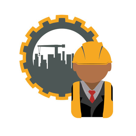 gear icon: constructer man gear and plant icon. Construction repair factory and industry theme. Isolated design. Vector illustration