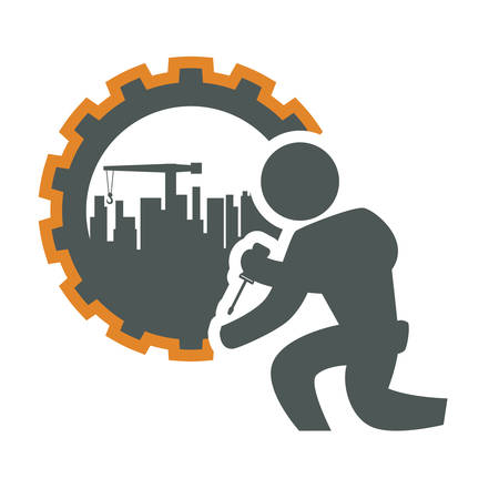 construction plant: constructer pictogram gear and plant icon. Construction repair factory and industry theme. Isolated design. Vector illustration