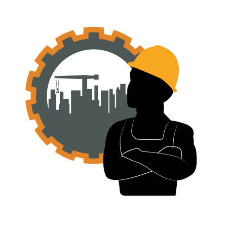 construction icon: constructer man gear and plant icon. Construction repair factory and industry theme. Isolated design. Vector illustration