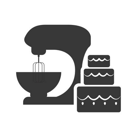cake mixer: mixer and cake icon. Bakery food and shop theme. Isolated design. Vector illustration