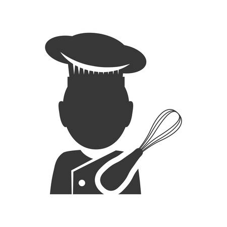 Chef and tool icon. Bakery food and shop theme. Isolated design. Vector illustration Illustration