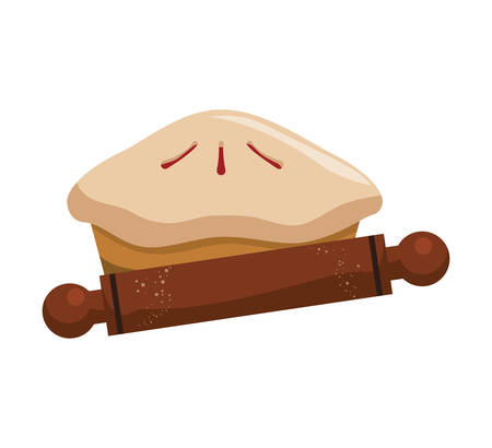 Cake and rolling pin icon. Bakery food and shop theme. Isolated design. Vector illustration