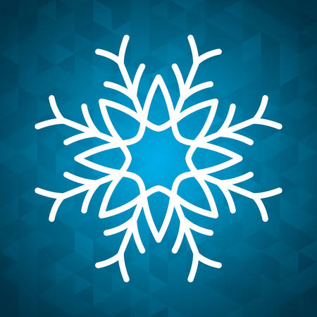 snowflake winter cold merry christmas snowfall frozen icon. Blue background. Vector illustration