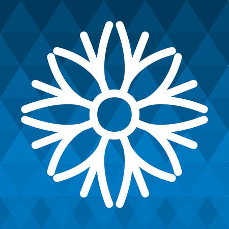 snowdrift: snowflake winter cold merry christmas snowfall frozen icon. Blue background. Vector illustration