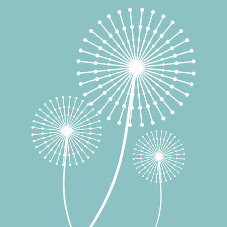White dandelion icon. Summer seed plant and flower theme. Colorful design. Blue background. Vector illustration