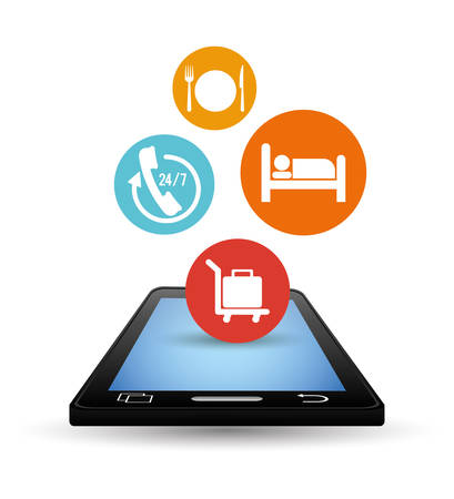 Smartphone and hotel apps icon set. Service technology media and digital theme. Colorful design. Vector illustration
