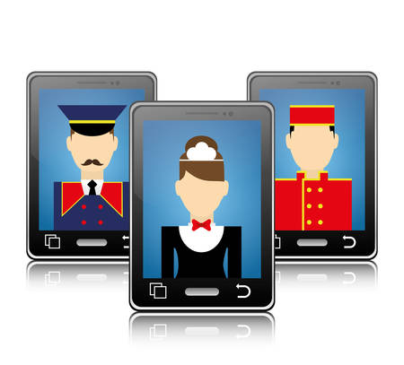 bellboy: Smartphone maid bellboy and hotel apps icon set. Service technology media and digital theme. Colorful design. Vector illustration Illustration