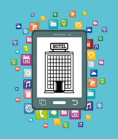 pensions: Smartphone and hotel building with apps icon set. Service technology media and digital theme. Colorful design. Vector illustration