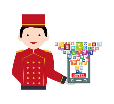 bellboy: Smartphone bellboy and hotel apps icon set. Service technology media and digital theme. Colorful design. Vector illustration