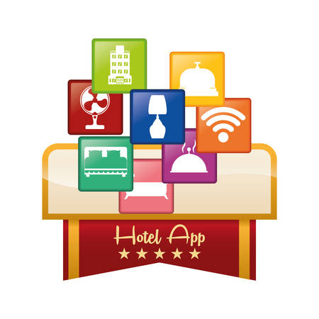 pensions: hotel apps icon set. Service technology media and digital theme. Colorful design. Vector illustration