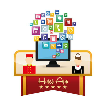 pensions: Computer maid bellboy and hotel apps icon set. Service technology media and digital theme. Colorful design. Vector illustration