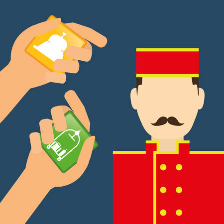 bellboy: Bellboy and hotel apps. Service technology media and digital theme. Colorful design. Vector illustration