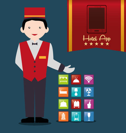 bellboy: Bellboy and hotel apps icon set. Service technology media and digital theme. Colorful design. Vector illustration Illustration