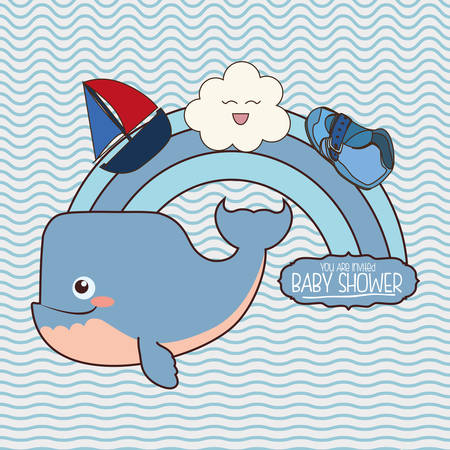 whale cartoon icon. Baby shower invitation card. Colorful design. Vector illustration