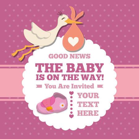 icono de dibujos animados cigüeña. tarjeta de invitación de la ducha del bebé. El diseño colorido. ilustración vectorial