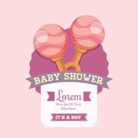 maraca: Pink maraca icon. Baby shower invitation card. Colorful design. Vector illustration