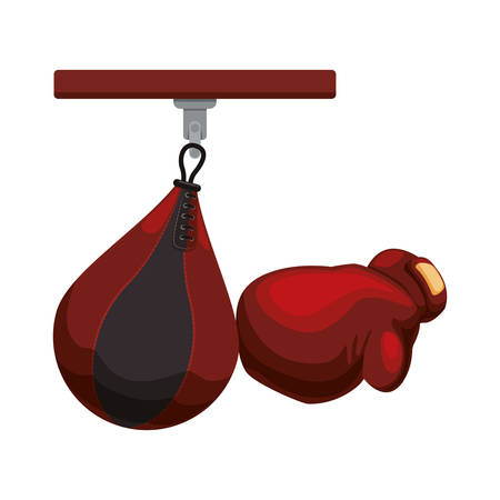 Bag and glove icon. boxing sport competition and training theme. Isolated design. Vector illustration