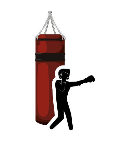 Boxer with gloves and bag icon. boxing sport competition and training theme. Isolated design. Vector illustration