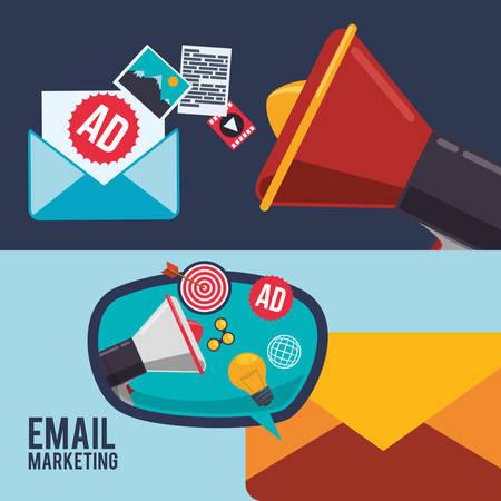 poststempel: Megaphone Blase und Umschlag-Symbol. E-Mail-Marketing-Nachrichtenkommunikation und Medienthema. Buntes Design. Vektor-Illustration Illustration