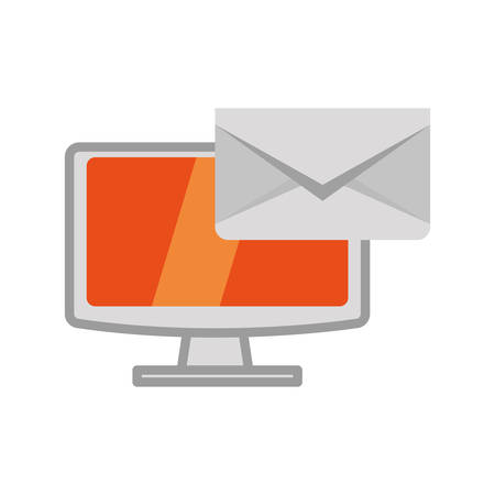 media gadget: Computer gadget with envelope icon. Technology device and media theme. Isolated design. Vector illustration