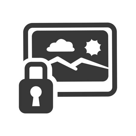 old padlock: Picture of landscape and padlock icon. photo online and media theme. Isolated design. Vector illustration Illustration