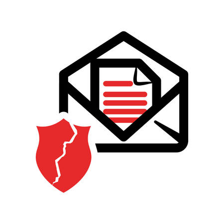 Envelope and shield icon. Email message and communication theme. Isolated design. Vector illustration