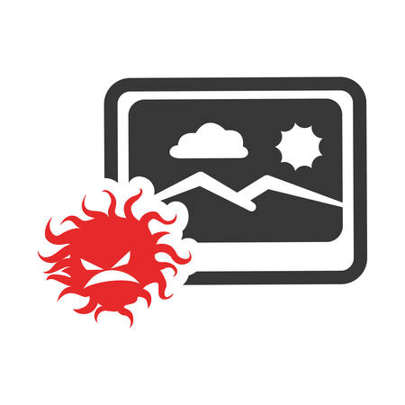 Picture of landscape and bug icon. photo online and media theme. Isolated design. Vector illustration