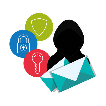 hacker envelope and icon set. Cyber security system and media theme. Colorful design. Vector illustration