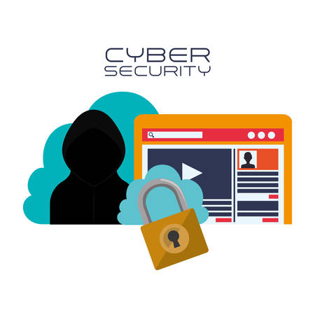 detected: Cloud hacker and padlock Cyber security system and media theme. Colorful design. Vector illustration