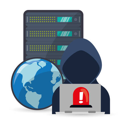 detected: Hacker planet and laptop icon. Cyber security system and media theme. Colorful design. Vector illustration Illustration