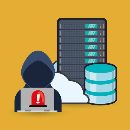 security system: Hacker cloud and laptop icon. Cyber security system and media theme. Colorful design. Vector illustration