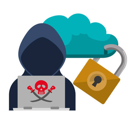 detected: Cloud hacker laptop and padlock Cyber security system and media theme. Colorful design. Vector illustration