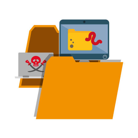 detected: File and icon set. Cyber security system and media theme. Colorful design. Vector illustration