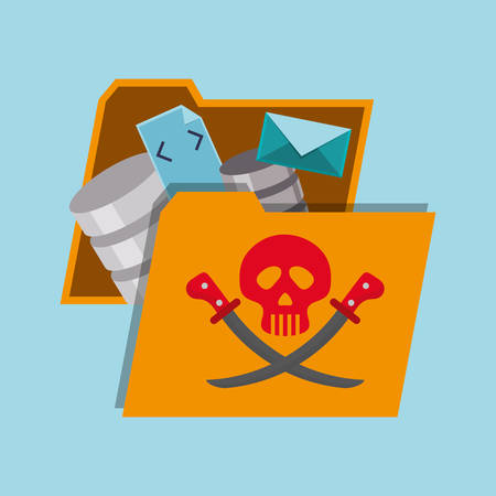 menace: File and icon set. Cyber security system and media theme. Colorful design. Vector illustration