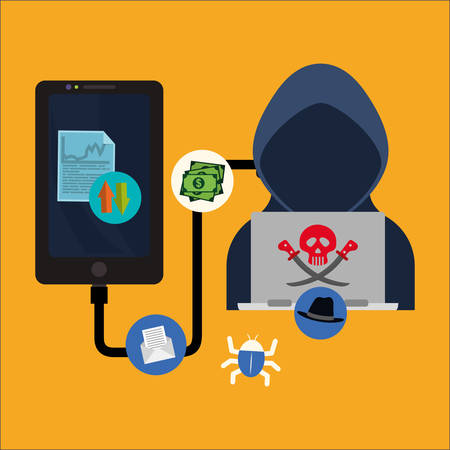 fatal: Smartphpne laptop hacker and icon set. Cyber security system and media theme. Colorful design. Vector illustration