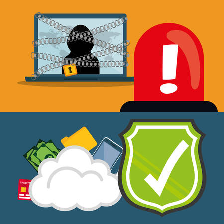 Laptop hacker shield cloud and icon set. Cyber security system and media theme. Colorful design. Vector illustration