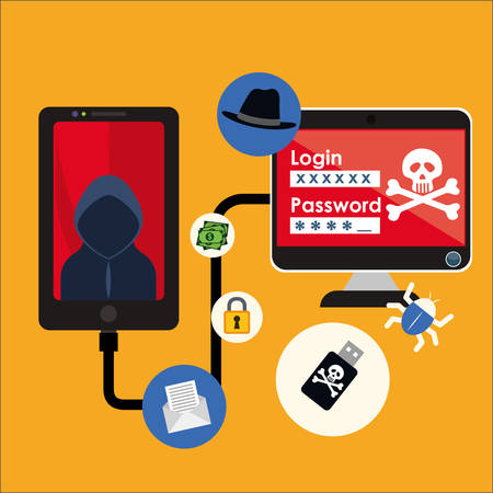 detected: Smartphpne computer hacker and icon set. Cyber security system and media theme. Colorful design. Vector illustration