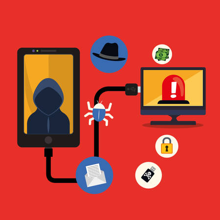fatal: Smartphpne computer hacker and icon set. Cyber security system and media theme. Colorful design. Vector illustration