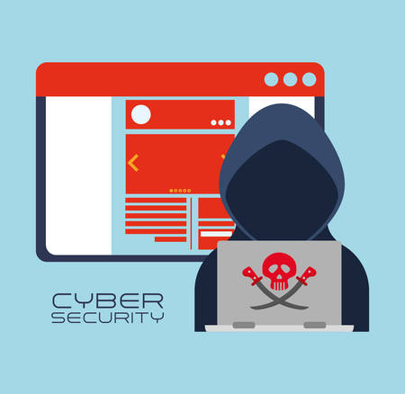 detected: Hacker and laptop icon. Cyber security system and media theme. Colorful design. Vector illustration Illustration