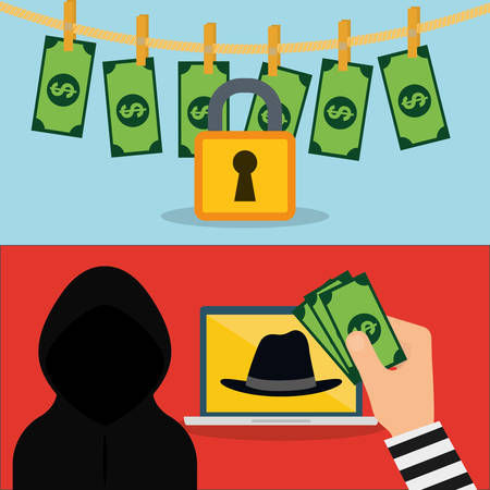 piracy: Hacker hat laptop padlock and bills icon. Cyber security system and media theme. Colorful design. Vector illustration