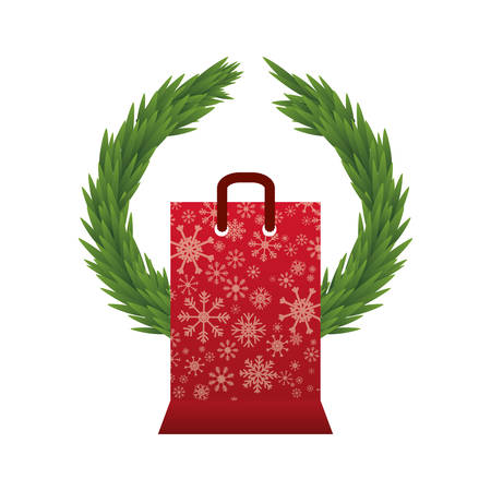 corona navidad: bolsa de la compra y el icono de pino corona. temporada de Navidad la decoración de la figura tema de Merry. diseño aislado. ilustración vectorial Vectores