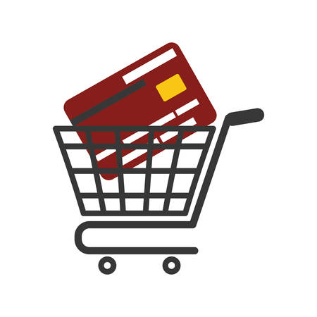 credit card icon: Shopping cart and credit card icon. Commerce market and store theme. Isolated design. Vector illustration