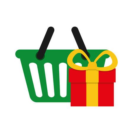 gift basket: Shopping basket and gift icon. Merry Christmas season decoration figure theme. Isolated design. Vector illustration