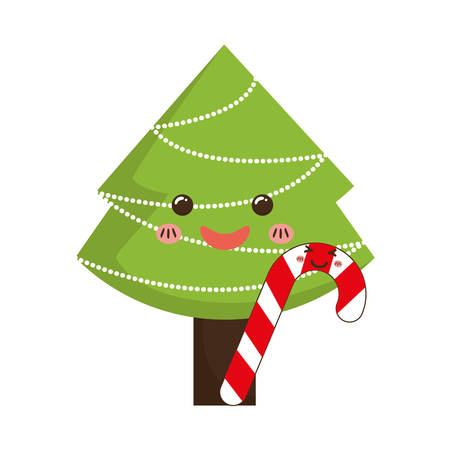 Pine tree and candy icon. Merry Christmas season decoration figure theme. Isolated design. Vector illustration