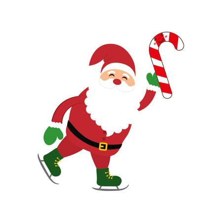 Santa cartoon and candy icon. Merry Christmas season decoration figure theme. Isolated design. Vector illustration Illustration