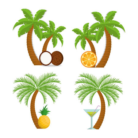 Coconut pineapple orange cocktail and palm tree icon. Fruits summer healthy and organic food theme. Colorful design. Vector illustration Illustration