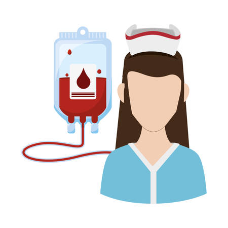 blood bag: Nurse with uniform and blood bag icon. Medical and health care theme. Isolated design. Vector illustration Illustration