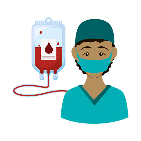 Nurse with uniform and blood bag icon. Medical and health care theme. Isolated design. Vector illustration Illustration