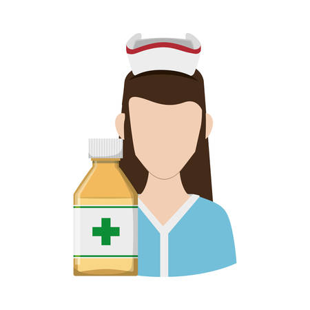 Nurse with uniform and medicine jar icon. Medical and health care theme. Isolated design. Vector illustration