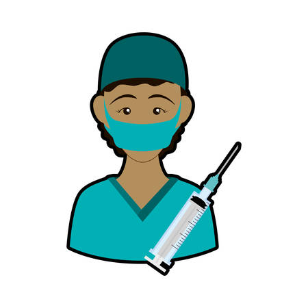 Nurse with uniform and syringe icon. Medical and health care theme. Isolated design. Vector illustration